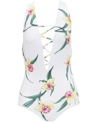 Indah Rainey Lace Up One Piece Swimsuit - Lush Lilly Floral Print - Multicolor