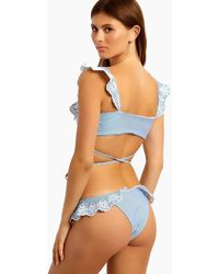 Beach Riot Chloe Ruffle Cheeky Bikini Bottom - Blue & White Stripe Print