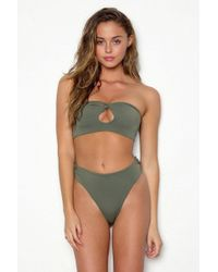 Peixoto Amelia Cut-out Bandeau Bikini Top - Green