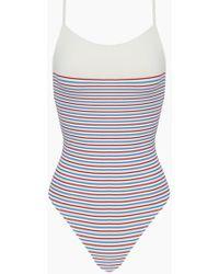 Solid & Striped - The Chelsea Color Block High Cut One Piece Swimsuit - Multi Breton Stripe Print - Lyst
