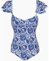 Saha - Samba Off Shoulder One Piece Swimsuit - Indigo Floral - Lyst