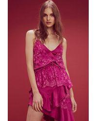 For Love & Lemons Sabina Layered Lace Hi-lo Maxi Dress - Pink