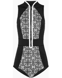 Duskii La Kasbah Color Block Sleeveless Zipper Rashguard Bodysuit - Black