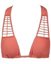 Acacia Swimwear Secrets Crochet Halter Bikini Top - Papaya Pink
