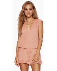 Beach Bunny Annika Short Sleeve Romper - Pink