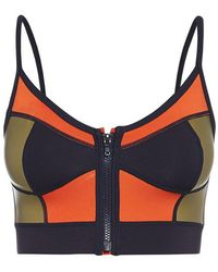 Duskii Zip Me Up Color Block Zipper Bustier Bikini Top - Indigo Purple/tangelo Red/gold - Multicolor