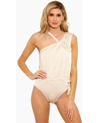 10 Crosby Derek Lam Asymmetric Ruched Tie One Piece Swimsuit - White
