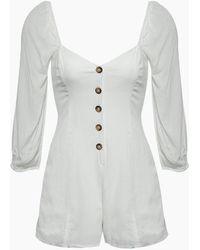 Amuse Society Liliana Button Front Romper - Casa Blanca White