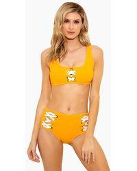 10 Crosby Derek Lam Side Laced High Waist Bikini Bottom - Orange