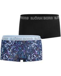 Björn Borg Leopard Minishorts 2-pack Bb Ny Leopard Blue - Blauw