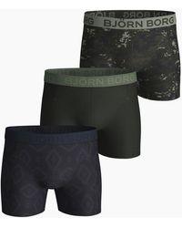 Björn Borg Digital Woodland & Tierra Cotton Stretch Shorts 3-pack Forest Night - Meerkleurig