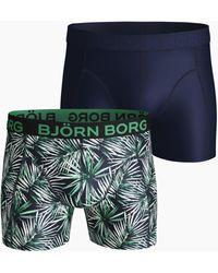 Björn Borg Jungle Leaves Microfiber Shorts 2-pack Peacoat - Groen