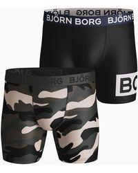 Björn Borg Peaceful & Borg Block Per Performance Shorts 2-pack Rosin - Zwart