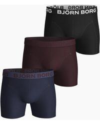 Björn Borg Seasonal Solids Cotton Stretch Shorts 3-pack Peacoat - Blauw
