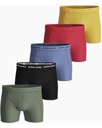 Björn Borg Seasonal Solid Essential Shorts 5-pack Yolk Yellow - Meerkleurig