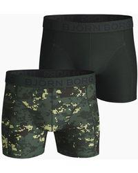 Björn Borg Digital Woodland Xl Cotton Stretch Shorts 2-pack Duck Green - Groen