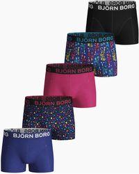 Björn Borg Energy Leo Mini & Tiger Mini Boy Cotton Stretch Shorts 5-pack Surf The Web - Blauw
