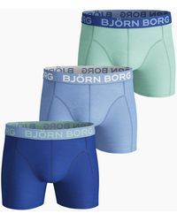 Björn Borg Seasonal Solid Cotton Stretch Shorts 3-pack Placid Blue - Blauw
