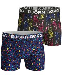 Björn Borg ENERGY LEO & TIGER COTTON STRETCH SHORTS 2-PACK Surf The Web - Blau