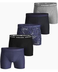 Björn Borg Ditsy Flower Essential Shorts 5-pack Crown Blue - Blauw