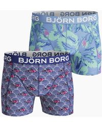Björn Borg Koi Wave & Multileaves Cotton Stretch Shorts 2-pack Surf The Web - Blauw