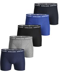 Björn Borg SEASONAL SOLID ESSENTIAL SHORTS 5-PACK Blue Depths - Bleu