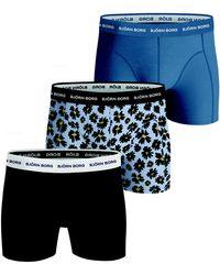 Björn Borg Fourflower Essential Shorts 3-pack Skyway - Blauw