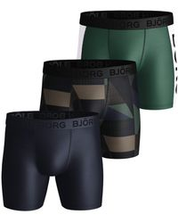 Björn Borg Textured Block Per Performance Shorts 3-pack Duck Green - Groen
