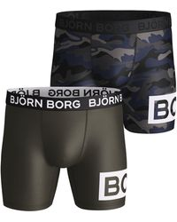 Björn Borg MULTI CAMO PERFORMANCE SHORTS 2-PACK Forest Night - Multicolore