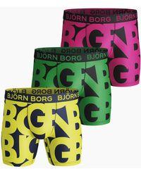 Björn Borg Name Performance Shorts 3-pack Evening Primerose - Meerkleurig