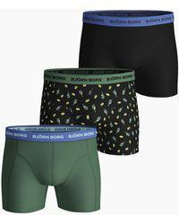 Björn Borg Lemonsplash Essential Shorts 3-pack Black Beauty - Zwart