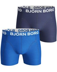 Björn Borg Solid Cotton Stretch Shorts 2-pack Skydiver - Blauw