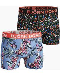 Björn Borg Geo Flag & Meadow Cotton Stretch Shorts 3-pack Mint Leaf - Meerkleurig