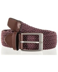 Black.co.uk - Burgundy Italian Wool And Leather Trimmed Woven Belt - Lyst