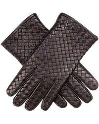 Black Men's Woven Leather Gloves - Blue