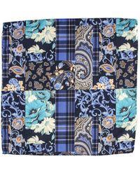 Black.co.uk Lesina Blue On Blue Patchwork Wool Pocket Square