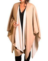 Black.co.uk Cream And Camel Double-sided Cape - Cashmere And Silk - Multicolour