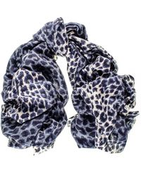Black Navy Leopard Print Cashmere And Silk Scarf - Blue