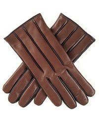 Black.co.uk - Men's Two-tone Brown Cashmere Lined Leather Gloves - Lyst