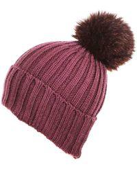 c05cecdfe44 Lyst - Black.co.uk Taupe Rabbit Fur Bobble Hat Description Delivery ...