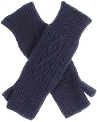 Black.co.uk Long Navy Cable Cashmere Wrist Warmers - Blue