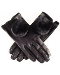 Black.co.uk - Black Leather And Suede Gloves With Fur Pom Poms - Lyst