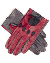 Black Claret And Slate Gray Italian Leather Driving Gloves