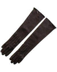 Black Long Leather Gloves - Silk Lined - Black