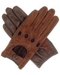 Black.co.uk Men's Brown Suede And Leather Driving Gloves