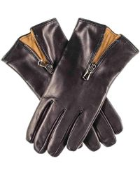 Black.co.uk Black And Tobacco Cashmere Lined Leather Gloves With Zip Detail