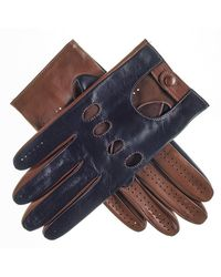 Black Navy And Tobacco Italian Leather Driving Gloves - Multicolour