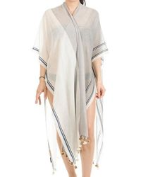 Black.co.uk - Athena Grey And Ivory Cotton Poncho Cover-up - Lyst