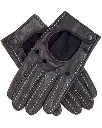 Black Men's And White Italian Leather Driving Gloves - Black
