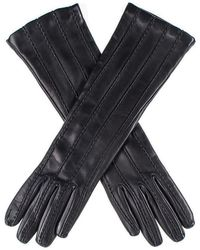 Black Leather Musketeer Gloves With Points - Blue